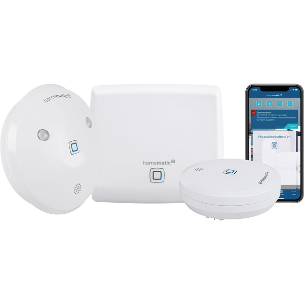 Homematic IP Smart Home Starter Set Wasseralarm mit Access Point, Wassersensor und Alarmsirene