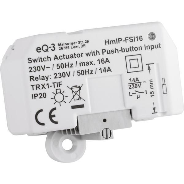Homematic IP Smart Home 3er Set Schaltaktor mit Tastereingang (16 A) HmIP-FSI16, Unterputz