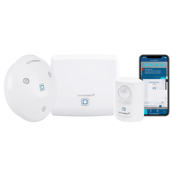 Homematic IP Starter Set Sicherheit mit Access Point, Bewegungsmelder und Alarmsirene, innen