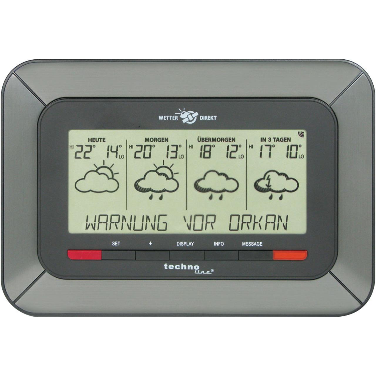 technoline WETTERdirekt Vorhersage-Station WD 4920- Vorhersage 4 Tage- Unwetterwarnung