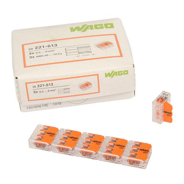 Wagoklemme 221-613, 3-Leiter-Klemme, Nennquerschnitt 6 mm², 30er Pack