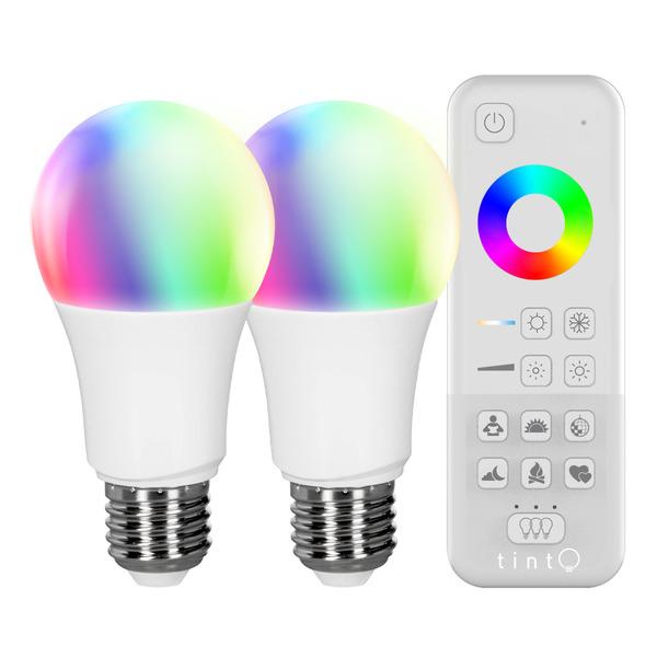 Müller Licht tint Starterset mit 2x 10-W-RGB-LED-Lampen E27 (Zigbee) und Funk-Fernbedienung