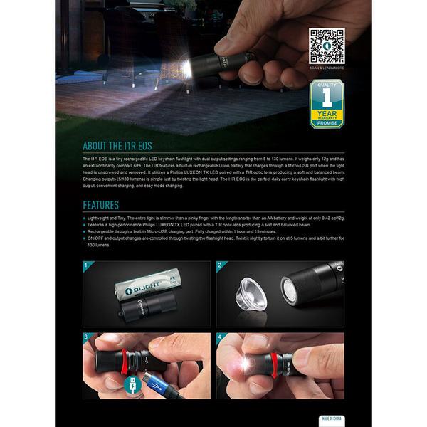 Olight Mini-Taschenlampe I1R EOS für Schlüsselanhänger, 130 lm, Li-Ion-Akku