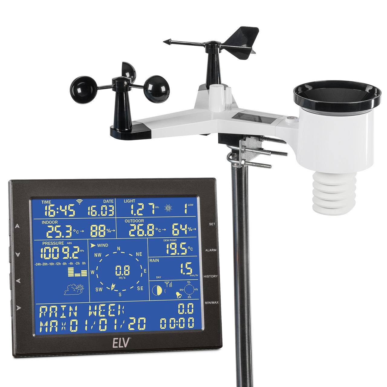 ELV WiFi-Wetterstation WS980WiFi- inkl- Funk-Aussensensor (868 MHz)- App- PC-Auswertesoftware
