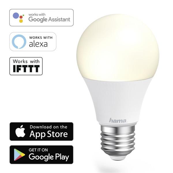 hama 10-W-WiFi-LED-Lampe E27, dimmbar, Sprachsteuerung mit Amazon Alexa und Google Assistant