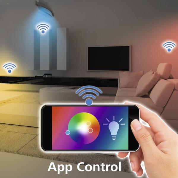 hama 5,5-W-WiFi-RGB-LED-Lampe, GU10, dimmbar, Sprachsteuerung mit Amazon Alexa und Google Assistant