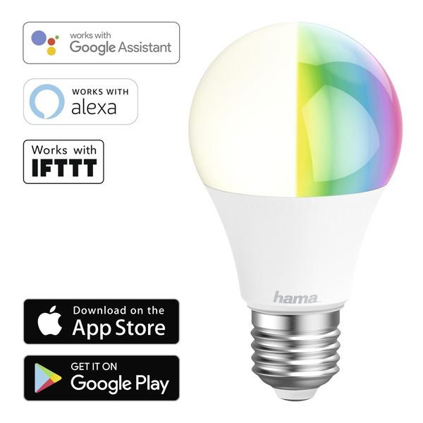 hama 10-W-WiFi-RGB-LED-Lampe E27, dimmbar, Sprachsteuerung mit Amazon Alexa und Google Assistant