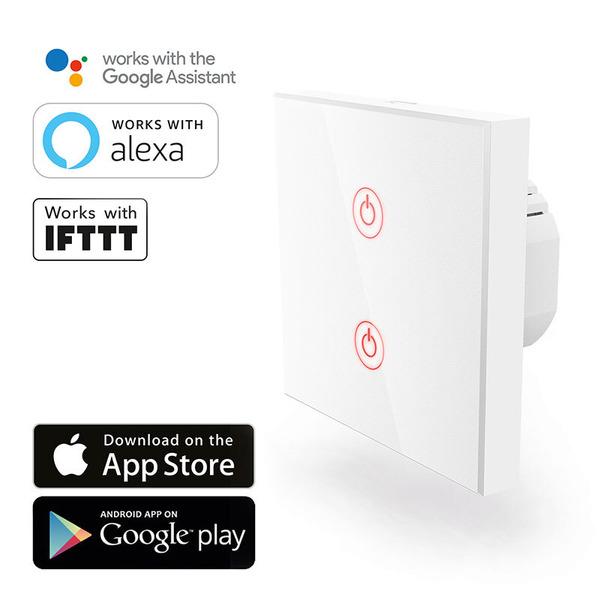 hama WiFi-Touch-Wandschalter, 2 Kanäle, max 1000 W, kompatibel mit Amazon Alexa und Google Assistant
