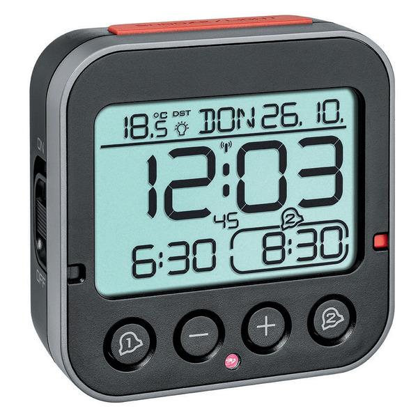TFA Funk-Wecker mit 2 einstellbaren Weckzeiten, Sensor für automatische Displaybeleuchtung