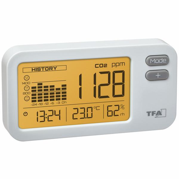 TFA CO2-Messgerät / CO2-Anzeige AirControl COACH, Kohlendioxid, mit Ampel-Funktion und 24-h-Historie