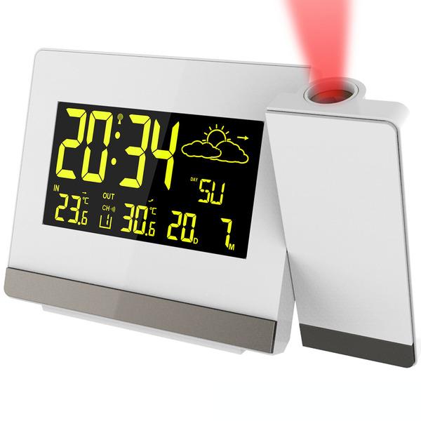 technoline Funk-Projektionswecker mit einstellbarem Farbdisplay und Außentemperaturanzeige