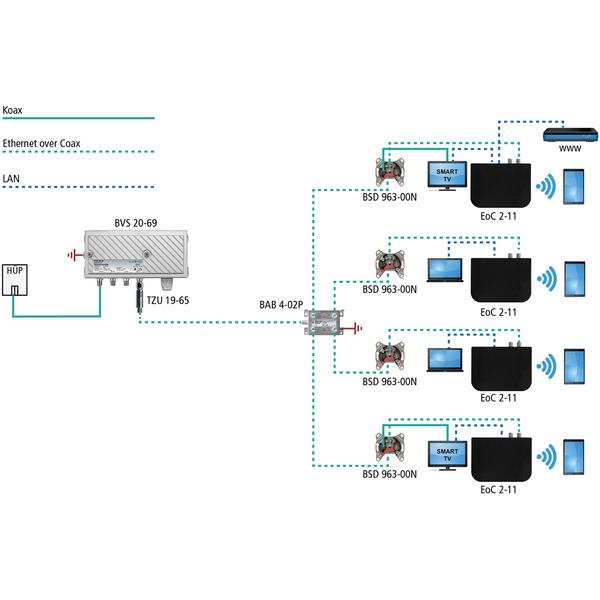 Axing Ethernet-over-Coax Netzwerk-Adapter EoC 2-11, LAN- und WLAN-Verteilung über Koaxkabel