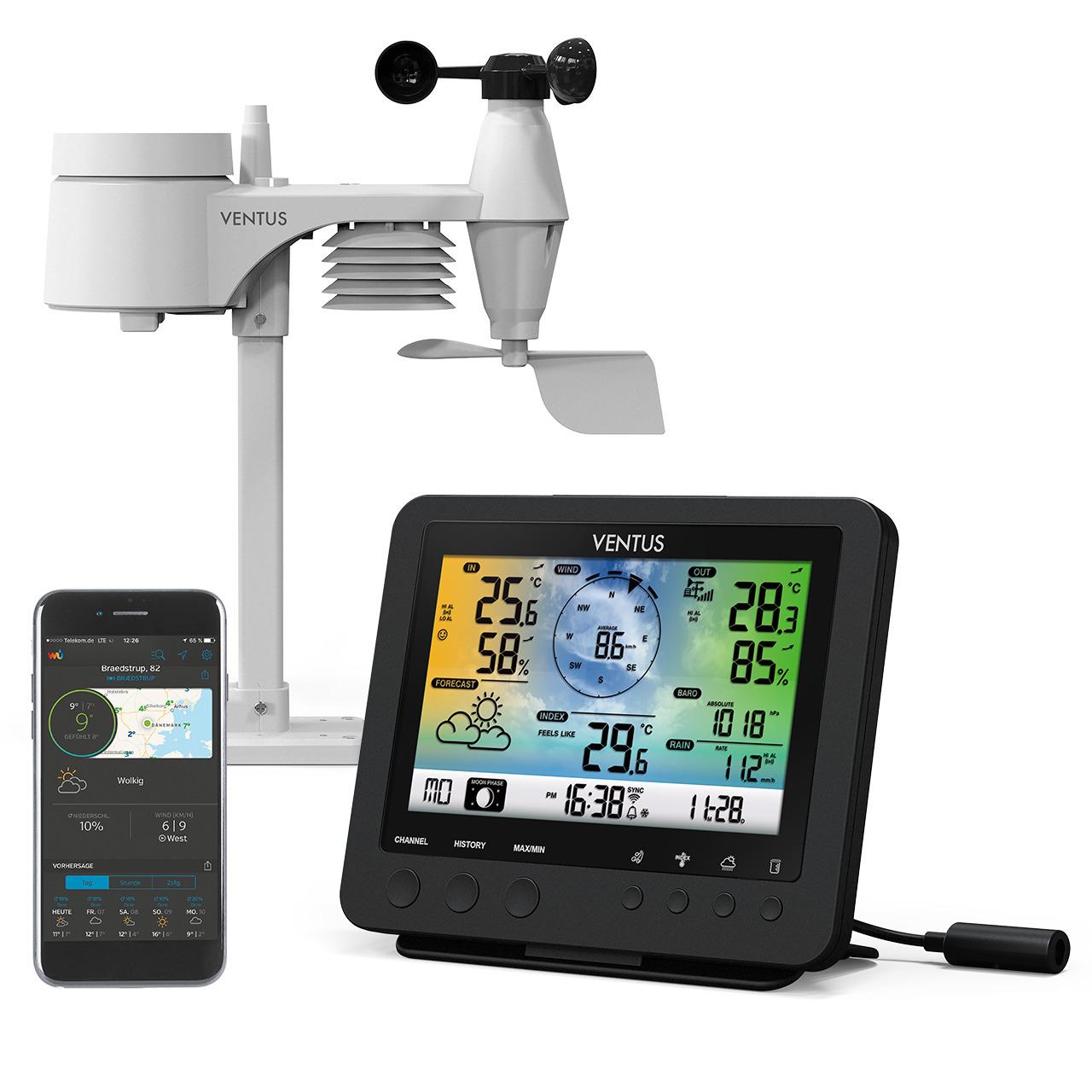 Ventus WiFi-Wetterstation W832 mit Raumklimafunktion- inkl- Funk-Aussensensor (868 MHz)- App