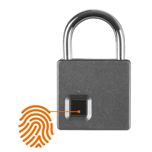 JOY-iT Vorhängeschloss Joy-Lock III, mit Fingerabdrucksensor, 10 Fingerabdrücke, mit Notschlüssel