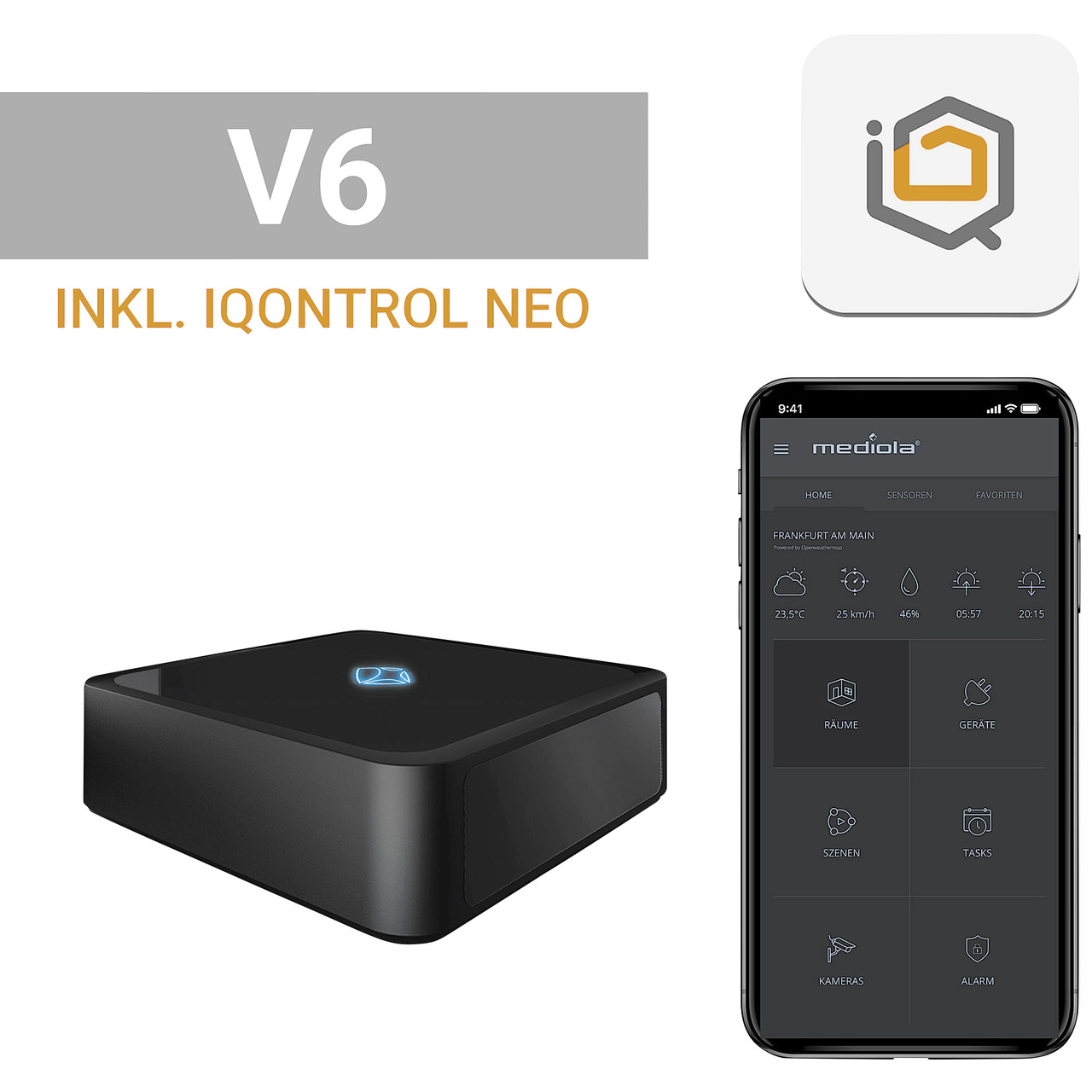 mediola AIO Gateway V6- inkl- IQONTROL NEO-App für z-B- Homematic IP- Homematic und FS20