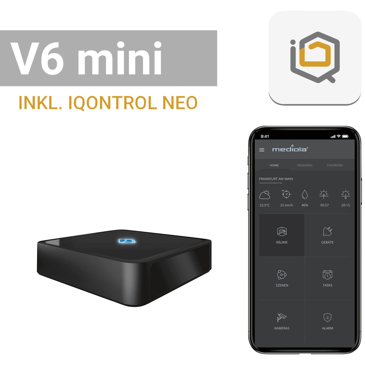 mediola AIO Gateway V6 mini- inkl- IQONTROL NEO-App für z-B- Homematic IP- Homematic und FS20