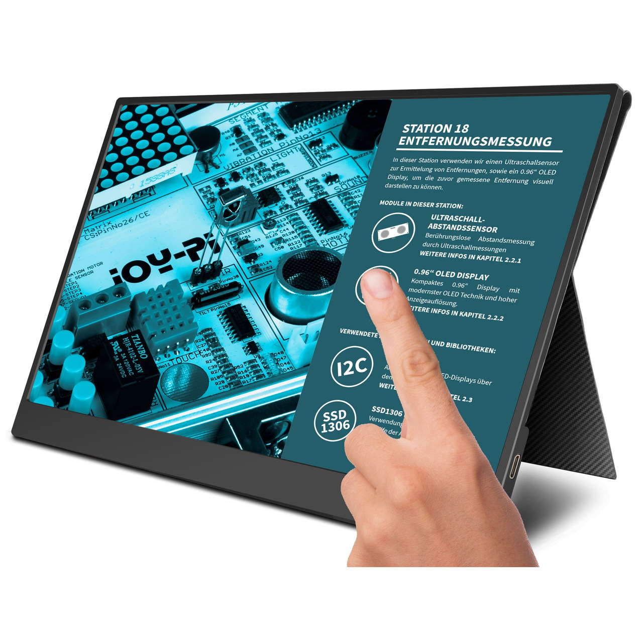 JOY-iT Tragbarer 15-6 Touchscreen-Monitor - Zweitmonitor- inkl- Smart Case Hülle