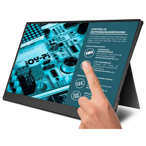 "Joy-IT Tragbarer 15,6"" Touchscreen-Monitor / Zweitmonitor, inkl. Smart Case Hülle"