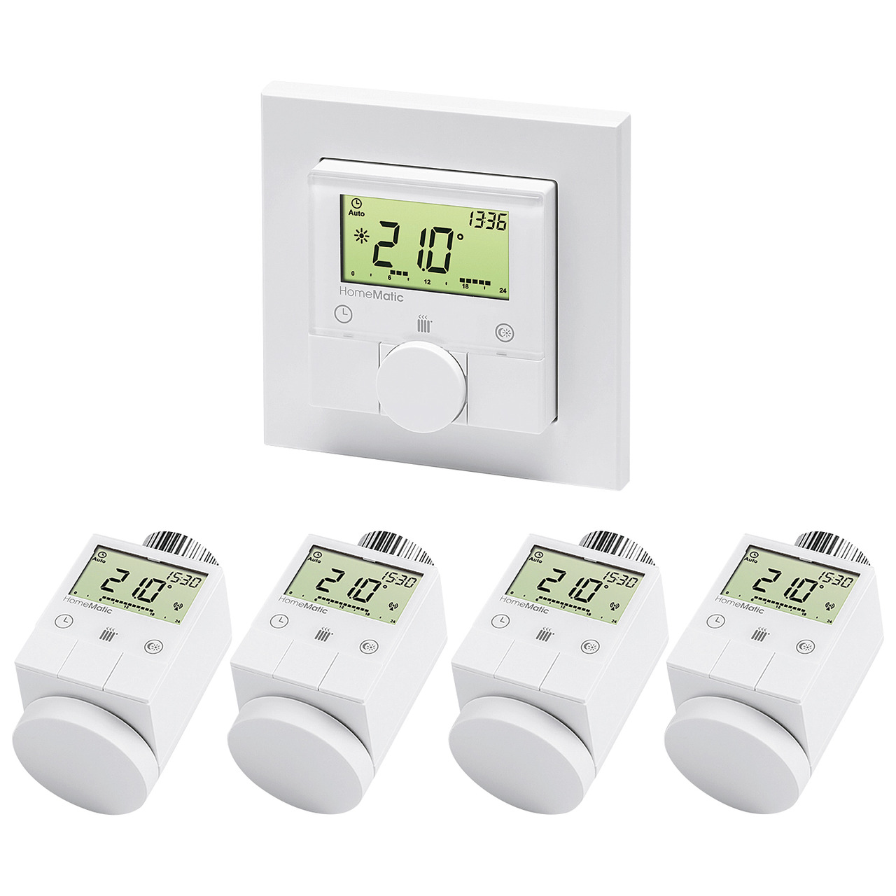 Homematic Spar-Set 4x Funk-Heizkörperthermostat und 1x Funk-Wandthermostat