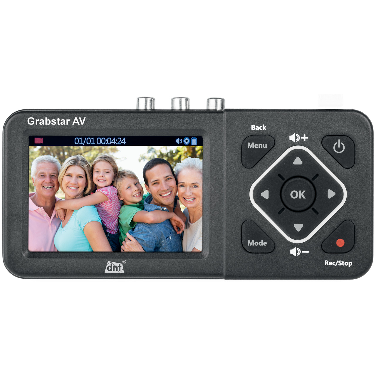 dnt Video-Digitalisierer Grabstar AV- 8-9-cm-LC-Display (3-5)- S-Video- speichert auf USB-SD-Medien