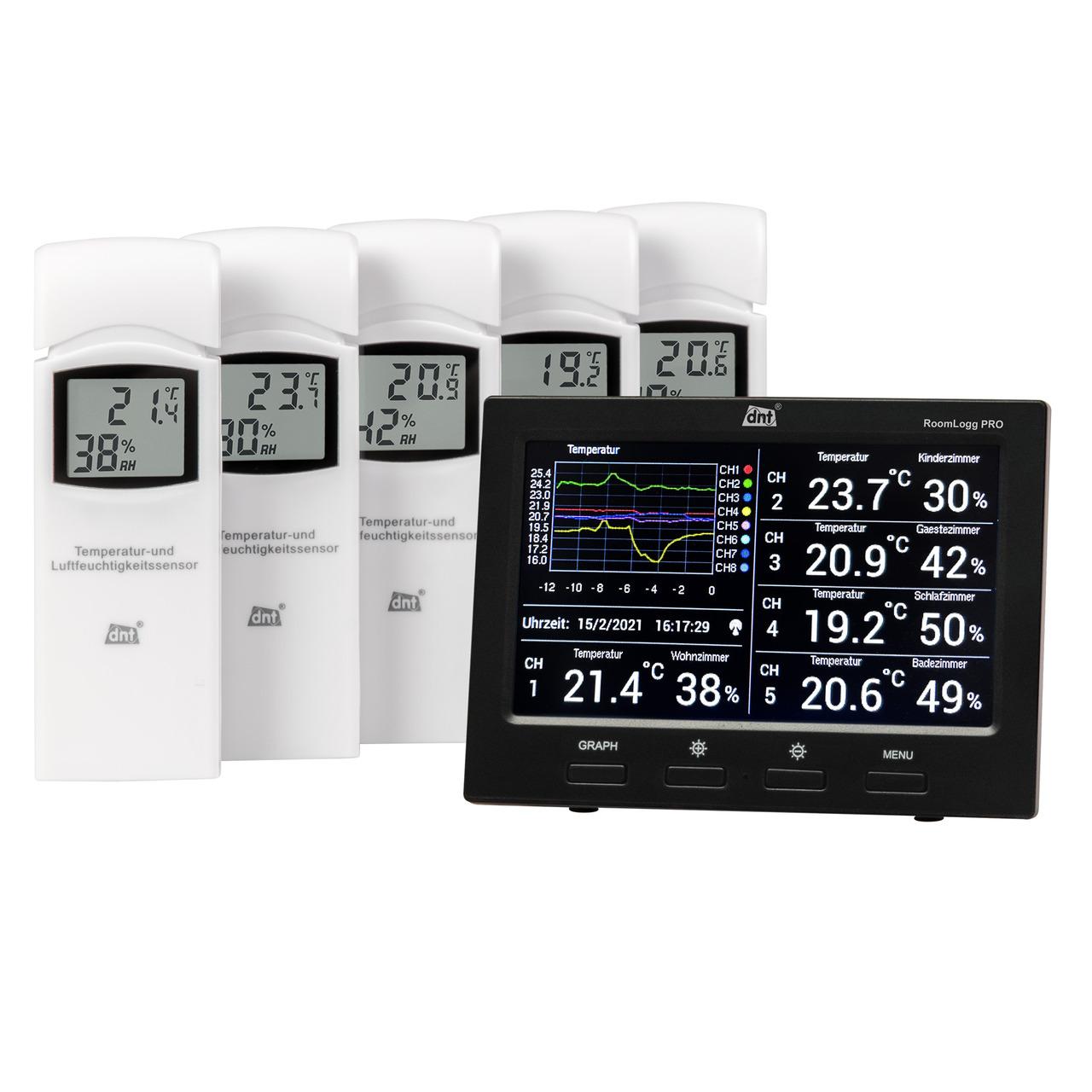 dnt Funk-Raumklimastation RoomLogg PRO- 868 MHz- inkl- 5 Thermo-Hygrosensoren und Auswertesoftware