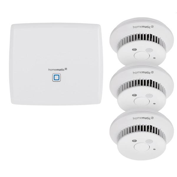 Homematic IP Starter Set mit Smart Home Zentrale CCU3 und 3x Rauchwarnmelder HmIP-SWSD