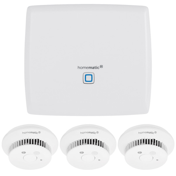 Homematic IP Starter Set Smart Home Zentrale CCU3 und 3x Homematic IP Rauchwarnmelder HmIP-SWSD