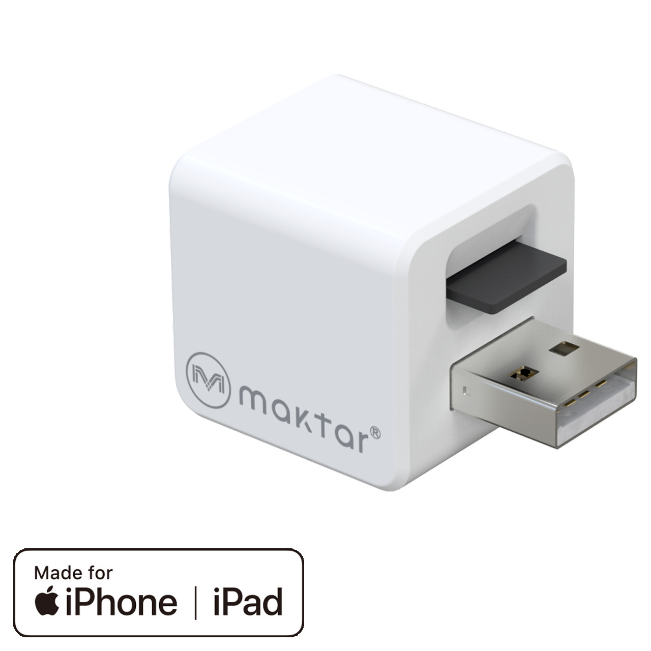 Maktar Auto-Back-up-Adapter Qubii- für iPhone-iPad- speichert Bilder-Videos-Kontakte auf microSD