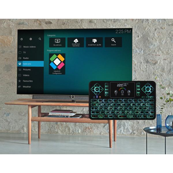 Joy-IT Mini Wireless-Tastatur mit integriertem Maus-Touchpad und RGB-Beleuchtung, 2,4 GHz, QWERTZ