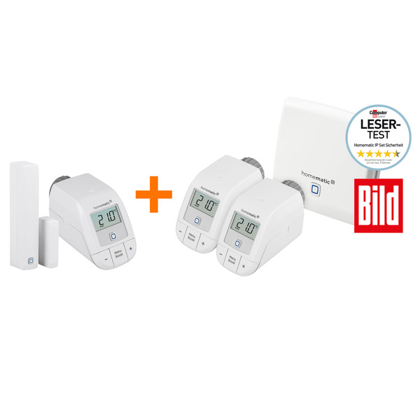 Homematic IP Starter-Set Heizen mit Access Point, 3x Heizkörperthermostate und Fenster-/Tür-Kontakt