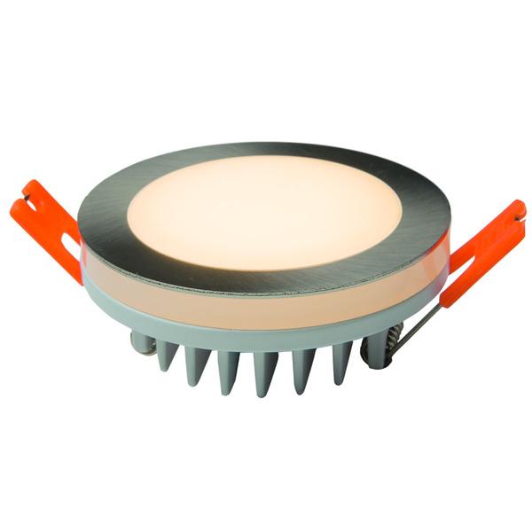 HEITRONIC 6-W-LED-Einbaustrahler rund mit LED-Lichtstreifen, IP44, silber matt