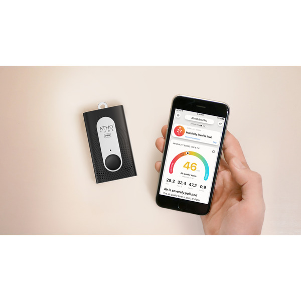 Tragbarer Luftqualitätsmesser Atmotube Pro, mit App-Steuerung