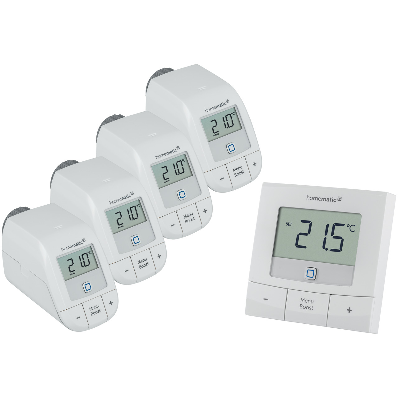 Homematic IP Smart Home Set Heizen Basic L mit 4x Heizkörperthermostat und 1x Wandthermostat