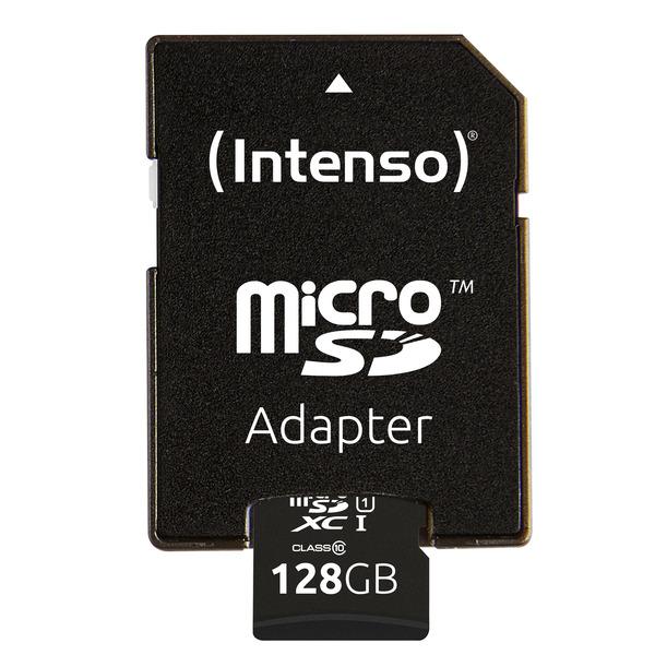 Intenso microSDXC-Karte UHS-I Premium, Class 10, mit SD-Adapter, 45 MB/s, 128 GB