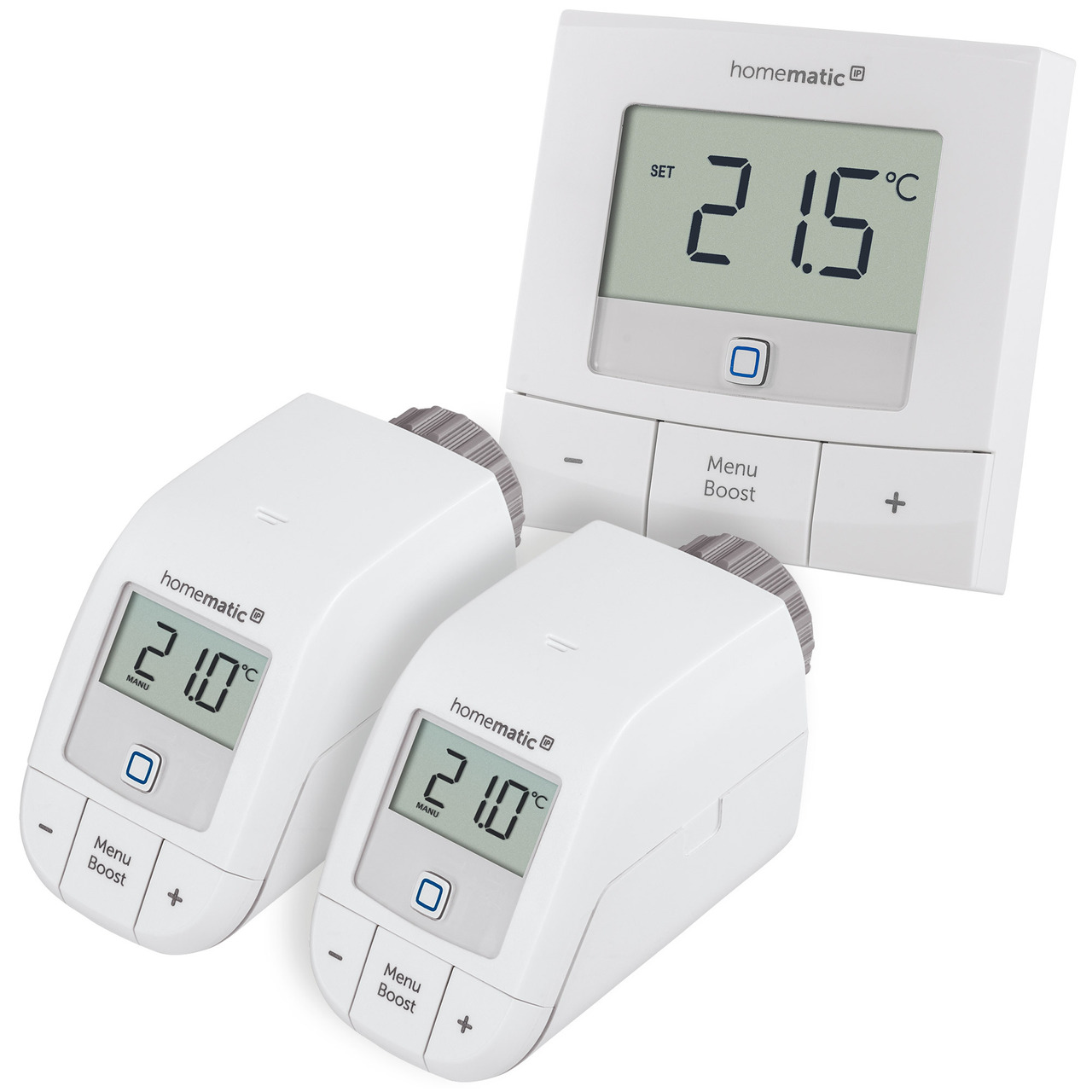 Homematic IP Smart Home Set Heizen Basic XS mit 2x Heizkörperthermostat und 1x Wandthermostat