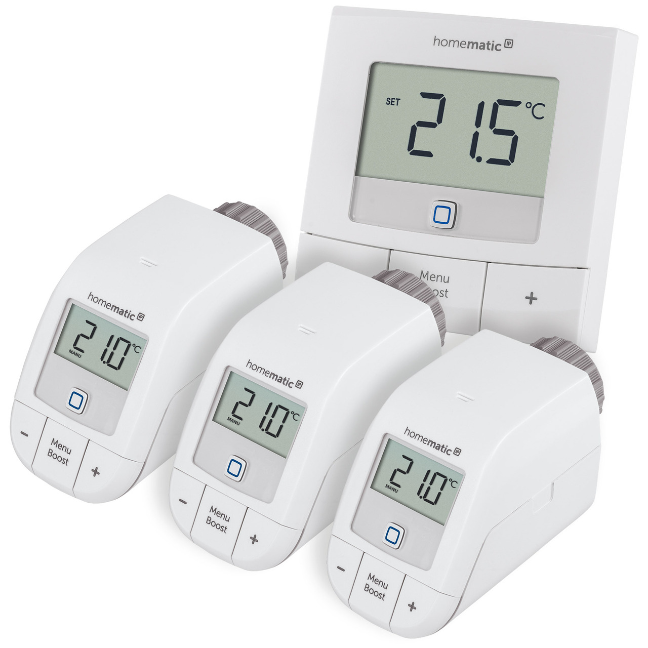 Homematic IP Smart Home Set Heizen Basic M mit 3x Heizkörperthermostat und 1x Wandthermostat