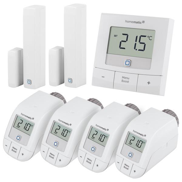 Homematic IP Set Heizen Basic XL, 4x Heizkörperthermostat, 1x Wandthermostat, 2x Fenster-/Türkontakt