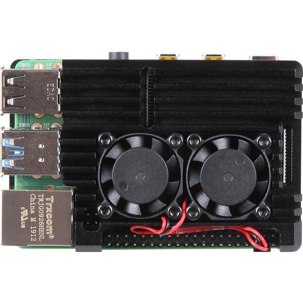 Joy-IT-SBC-Gehäuse Armor Case Block Active für Raspberry Pi 4, inkl aktiver Kühler, schwarz