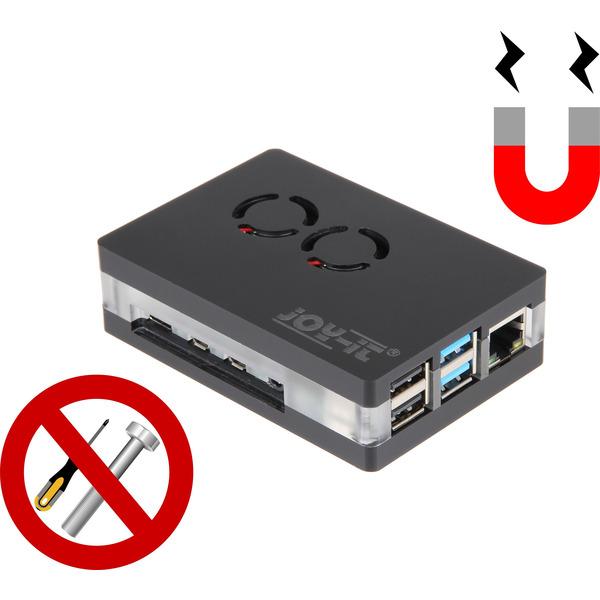 Joy-IT-SBC-Magnetgehäuse für Raspberry Pi 4, inkl. aktiver Kühler und Magnetverschluss