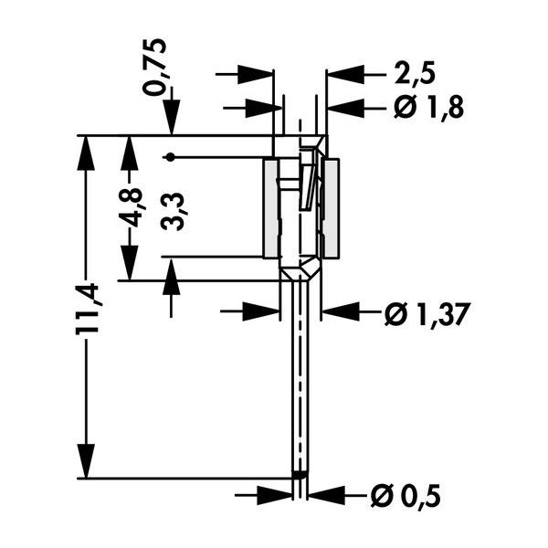 Buchsenleiste für Ø 0,5 mm, MK 31 50 Z, Polzahl 50; verzinnt