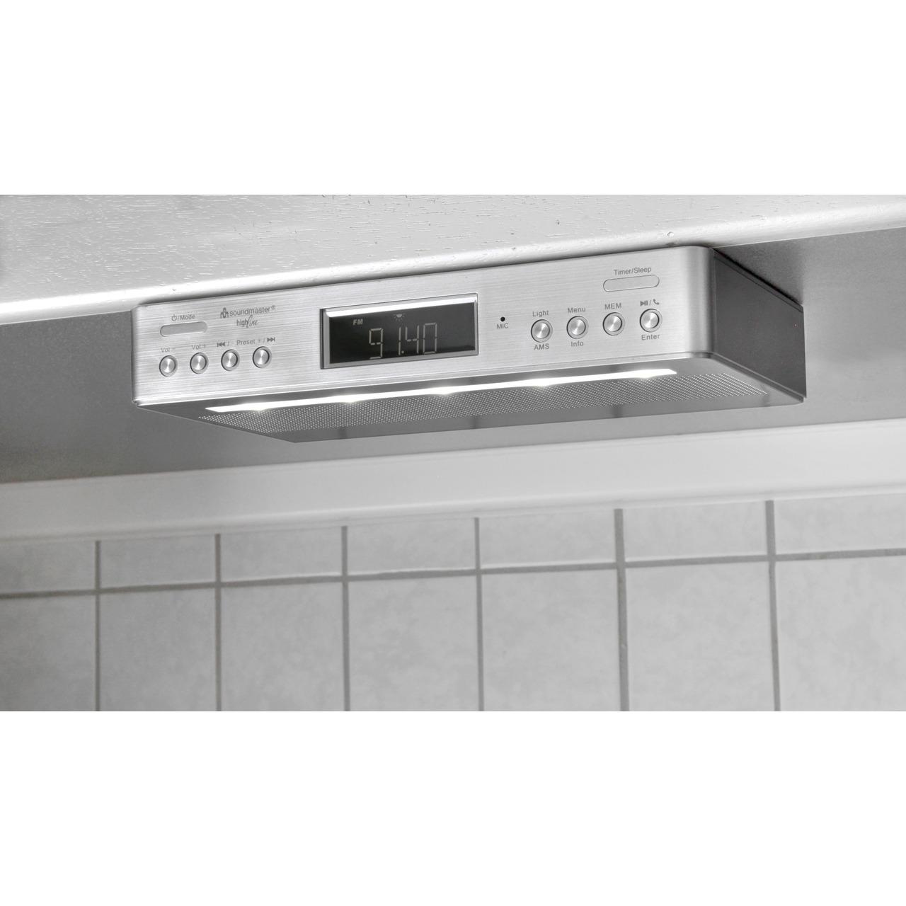 Soundmaster Küchen-Unterbauradio UR2045 SI- UKW-DAB+- mit Bluetooth-Funktion und Küchentimer
