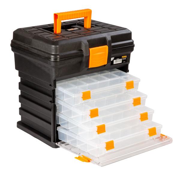 Velleman Werkzeugbox groß, mit 4 entnehmbaren Aufbewahrungsboxen
