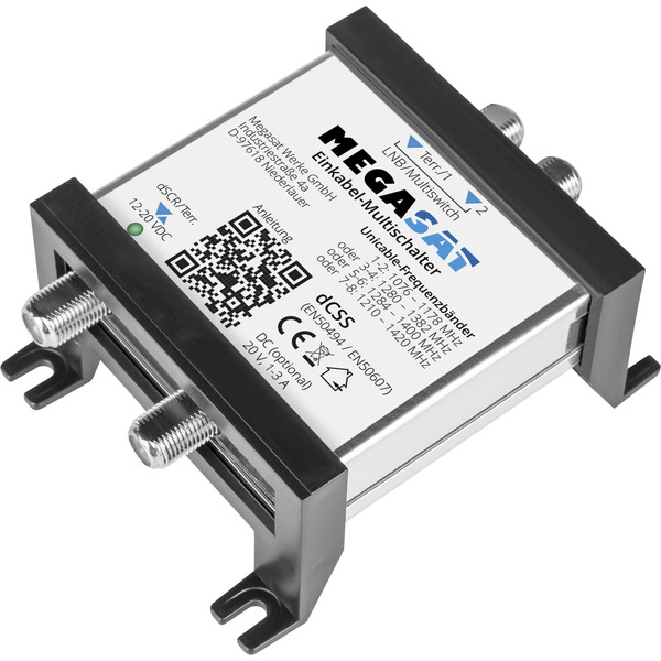 Megasat Einkabel-Multischalter, für DVB-S/S2 / DVB-T, Unicable-Lösung, Twin-Anschluss