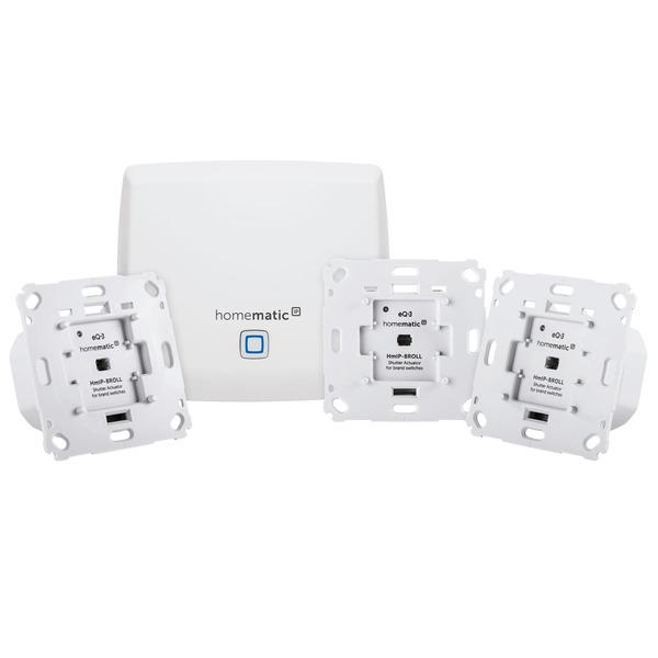 Homematic IP Starter Set Beschattung mit Access Point und 3x Rollladenaktor für Markenschalter