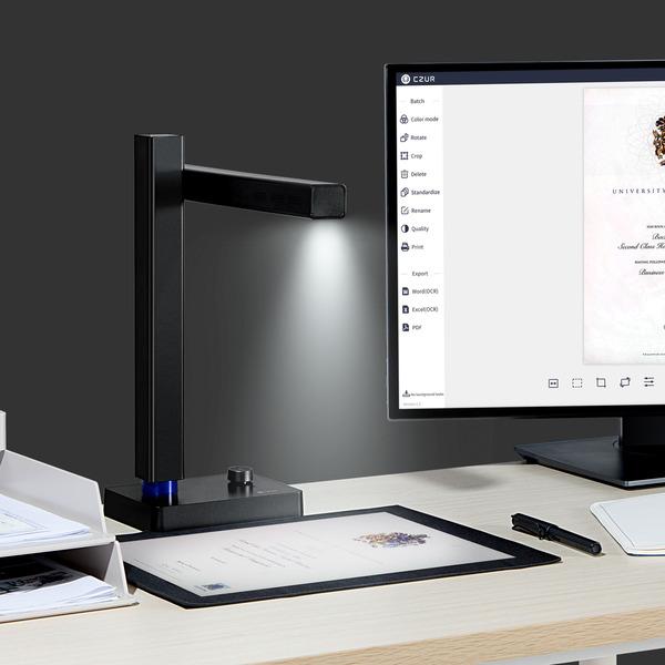 CZUR Faltbarer Buch-/Dokumentenscanner SHINE 800 Pro, 8 MP, OCR-Texterkennung (187 Sprachen)