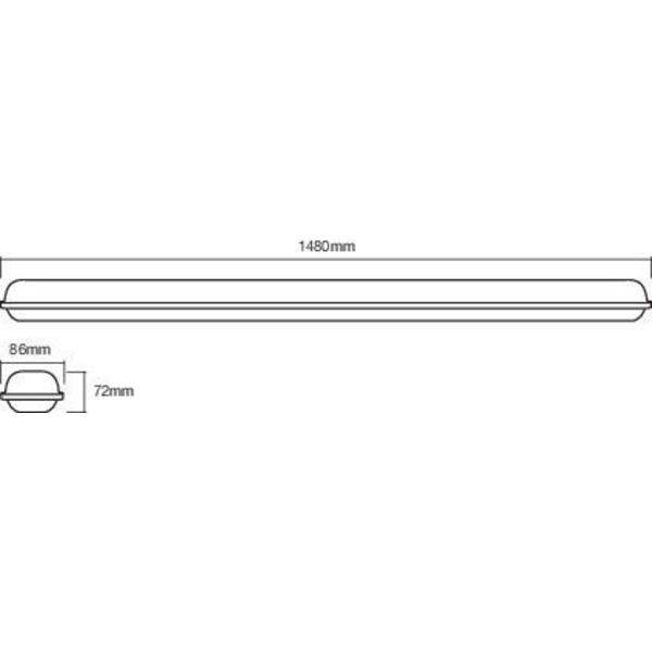Ledvance 148 cm 48-W-LED-Feuchtraumwannenleuchte SubMARINE Integrated 1500, neutralweiß, IP65