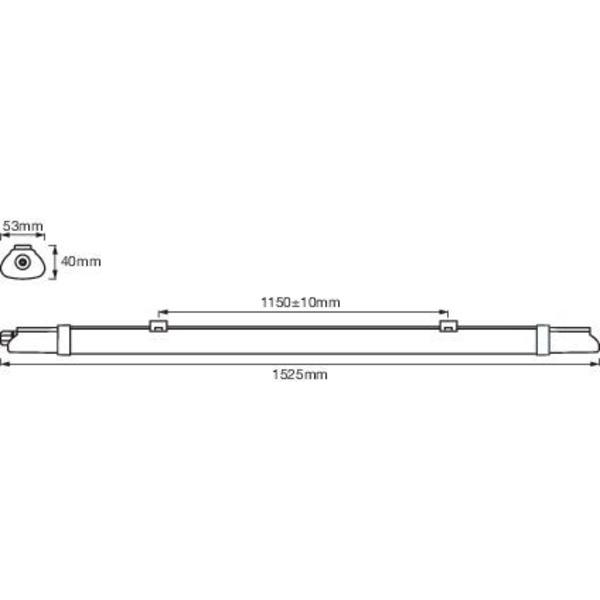 Ledvance 152,5 cm 24-W-LED-Feuchtraumwannenleuchte SubMARINE Integrated Slim Value 1500, 4000 K, IP6