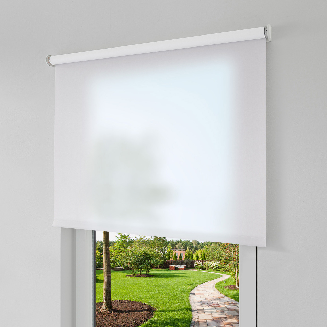 Erfal Smartcontrol Rollo by Homematic IP- 140 x 230 cm (B x H)- halbtransparent tageslicht weiss