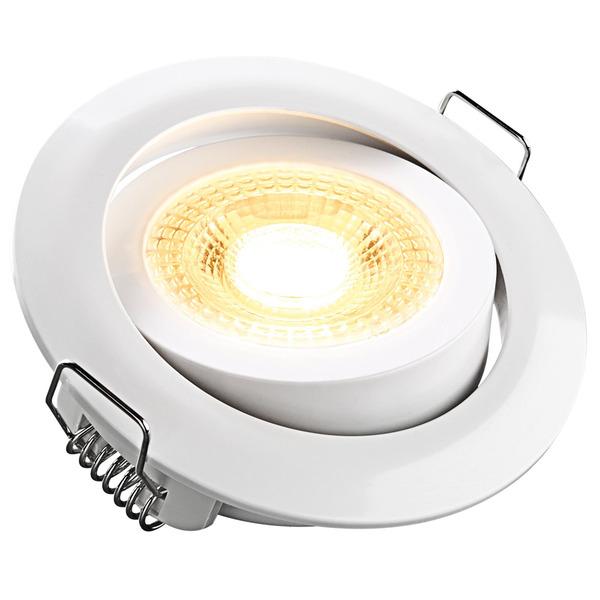 HEITRONIC 5-W-LED-Einbaustrahler DL7202, rund, schwenkbar, weiß, dimmbar per Lichtschalter, IP20