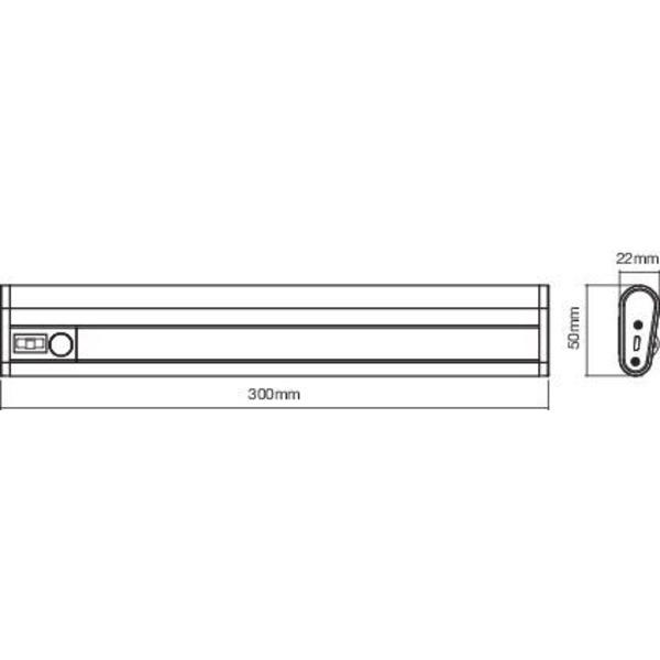 Ledvance Mobile Unterbauleuchte LinearLED Mobile USB, 300 mm, mit Licht- und Bewegungssensor, IP20